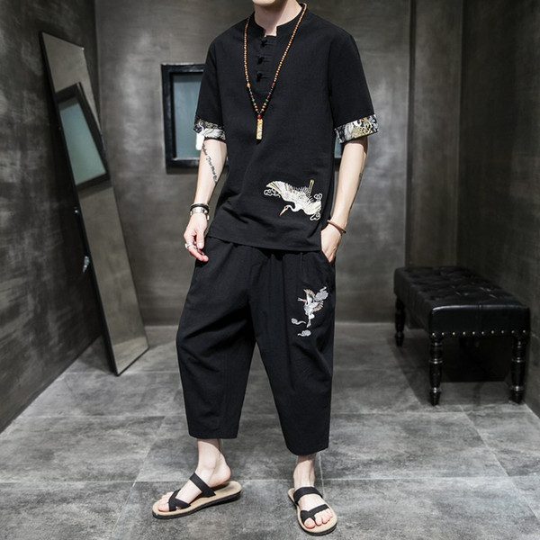 Han clothing men's ancient clothing summer Chinese style men's cotton and linen suit Tang Zen