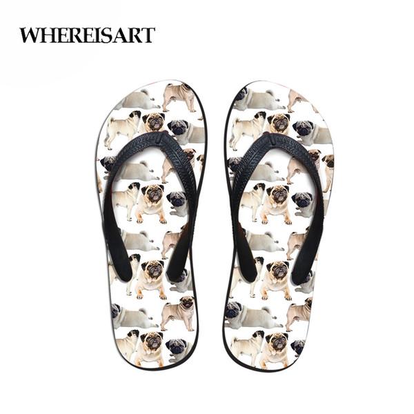 WHEREISART Fashion Women's Rubber Flip Flops Ladies Summer Beach Slippers Cute Animal Dog Cow Printed Sandals Beach Shoes