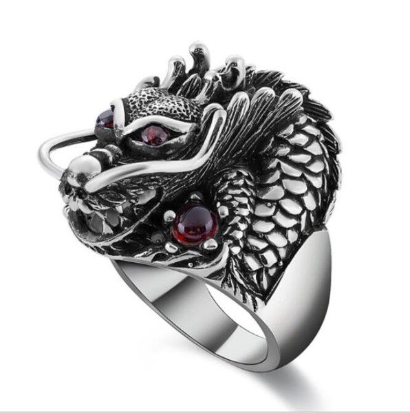 2019 100% Real 925 Sterling Silver Ring Thai Silver Powerful Dragon for Men Ring Jewelry Vintage Mens Rings Fine Jewelry