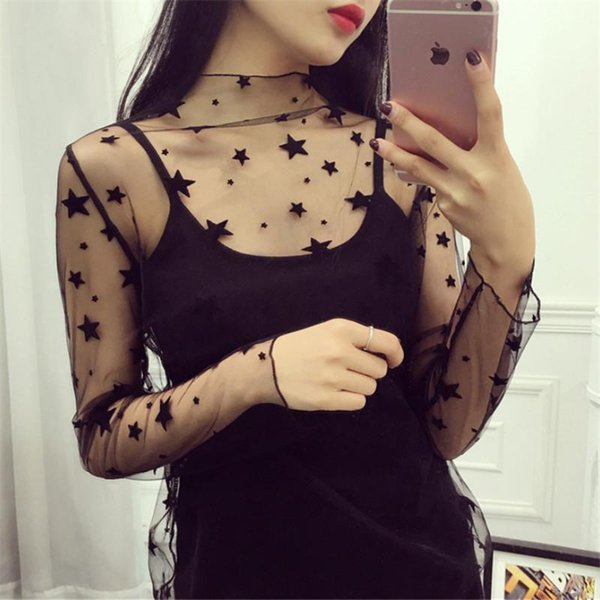Amazing 2019 Mesh T-shirts Hot Sexy Womens Long Sleeve See-through Ruffled Embroidery Star Polka Dots See-through Summer Net Tee Tops