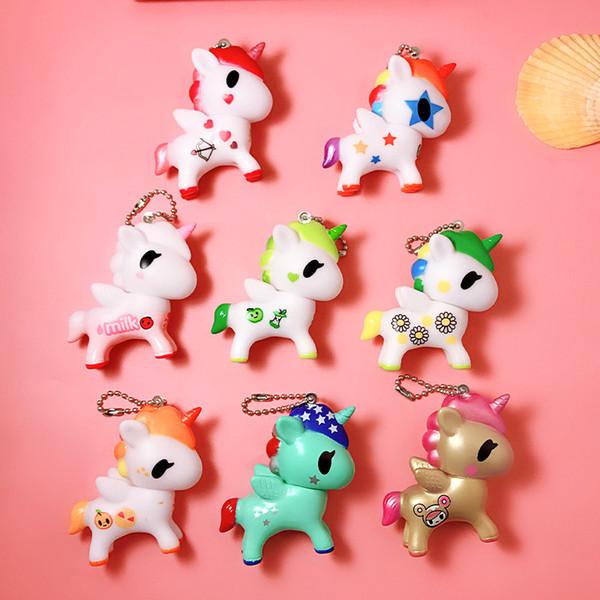 Cartoon Cute Anime Animal Small Pony Horse Keychain Women Leather Strap Metal Key Ring Chains Car Purse Bag Charm Trinkets 0325641