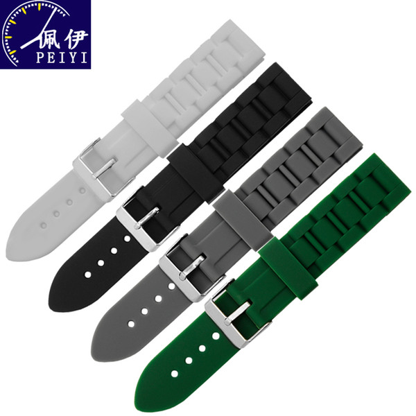 PEIYI watchband 20mm 22mm replacement silicone strap Triple bead tyre pattern waterproof rubber wristband men and