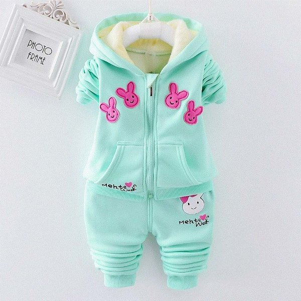 good quality winter baby girls clothes sets kids girl warm coat suits infant girls cartoon pattern + pants 2pcs sports set