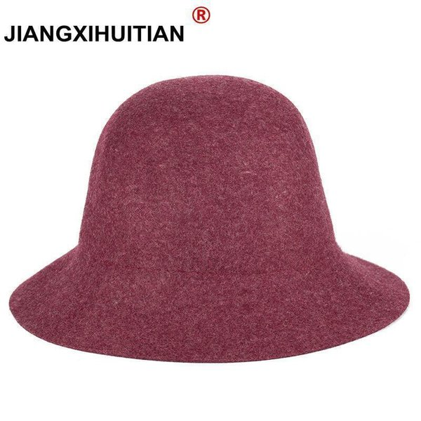 2017 100% Pure Cashmere Wool Felt Hats Women Solid Wide Brim Women Fedora Hat Vintage Floppy Pattern Cap Female new year gifts D19011102