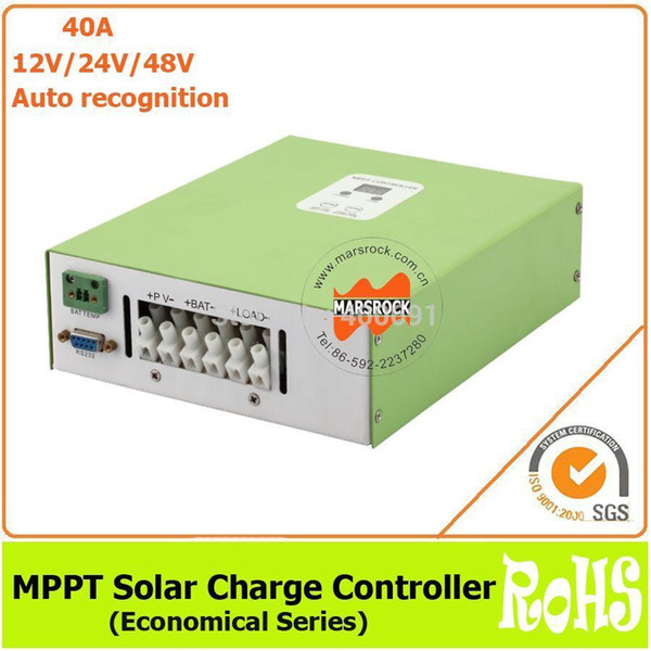 Freeshipping Ecnomical 40A 12V/24V/48V automatic recognition MPPT solar charge controller with RS232 communication port