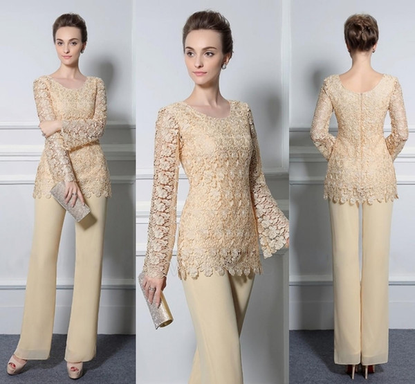 Two Piece Lace Pants Suits For Mother Of The Bride Cheap Formal Groom Dresses Jewel Neckline Chiffon Wedding Mothers Guest Dresses