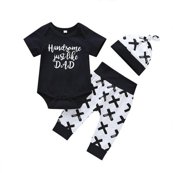 Conjuntos de crianças de qualidade 2019 verão tops de algodão + calças + chapéu 3 pcs roupas meninos moda bebê conjuntos de roupas casuais crianças roupas