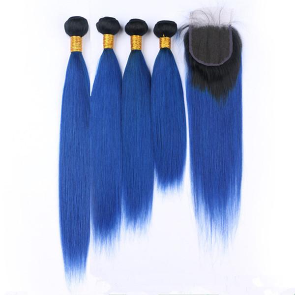 Dark Roots # 1B / Blue Ombre Recta 4Bundles de cabello humano con cierre 5Pcs / Lot Dark Blue Ombre Indian Hair teje con cierre de encaje 4x4