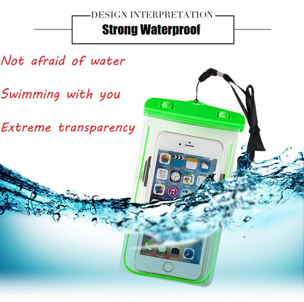 Luminous Dry Bag Universal Waterproof Case High Clear Camera Use Soild For Iphone X 10 8 7 Plus Samsung Galaxy Note 8 OPP Pack