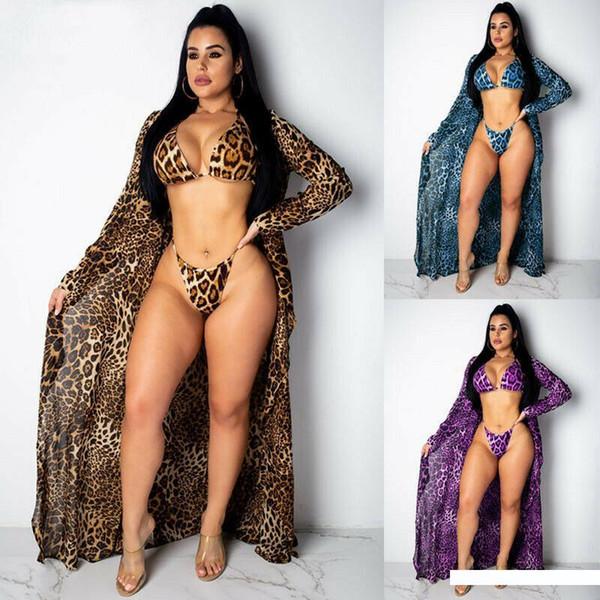 Seksi 3PCS Cover Up Leopard Baskı Plaj Kadınlar Bikini Kapak-up Beachwear Kadın Mayo Kapak Up Elbise Mayo Plaj Tunik