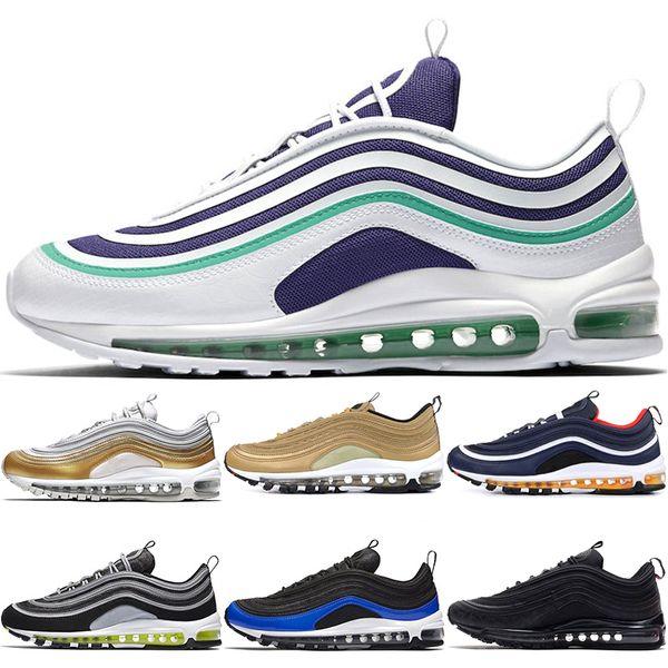 97 Hombres Nike Zapatos De Diseño Azul Nebulosa Uva Metálica Oro Medianoche Azul Marino Mostaza Mujeres Zapatillas De Deporte Entrenador 97S