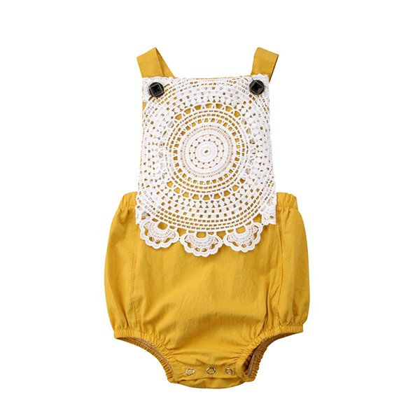 Lovely Newborn Princess Baby Girl Summer Romper Sleeveless Backless Lace Flower One Pieces Jumpsuit Outfit Sunsuit