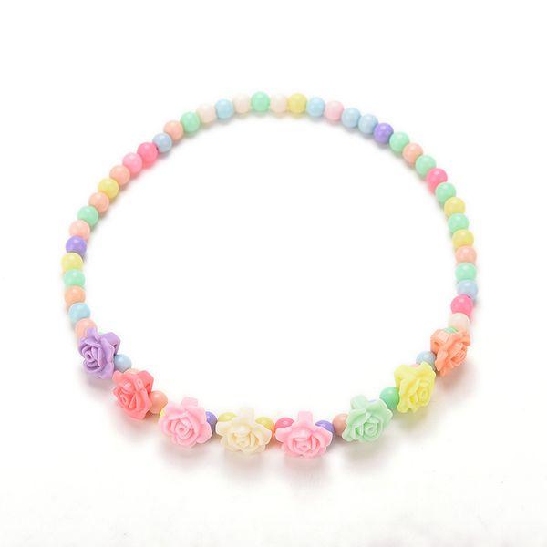 Collier de perles Bubblegum multicolores de beaux enfants colliers Bracelet Rose en forme de bijoux de parti de fille de fille