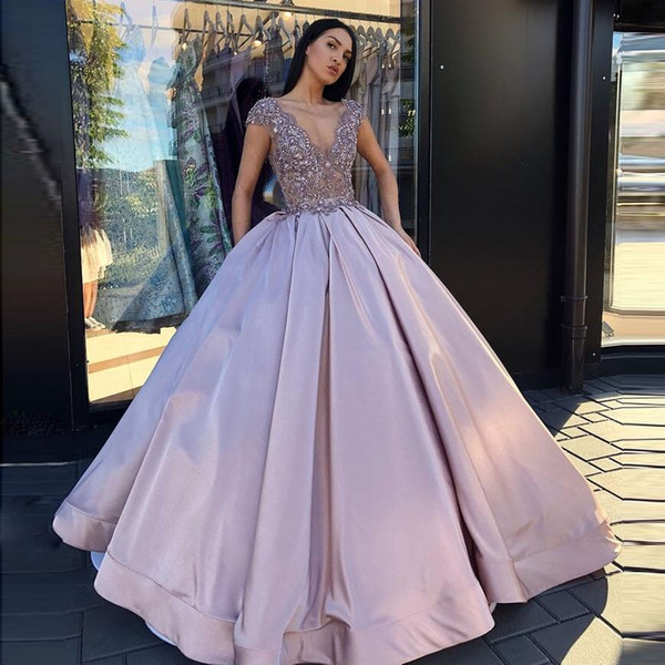 Beautiful A Line Ball Gown Prom Dresses Lace Applique Sequins Top Satin Skirt Formal Evening Dresses Party Gowns V Neck Zipper Back Australia 2020