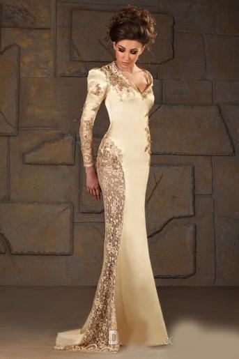 Vintage V-neck Mermaid Satin Long Sleeve Applique Sequin Gold Evening Gowns Formal Modest Mother Of The bride Dress