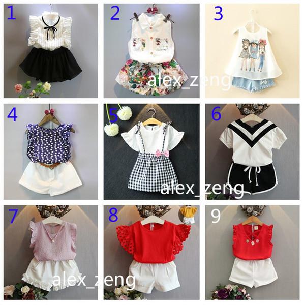 36 styles Kids Outfits Baby Girls Fashion INS Sets Children Summer Cotton Chiffon T-shirt+Skirts Short Pants 2pcs Set kids designer clothing