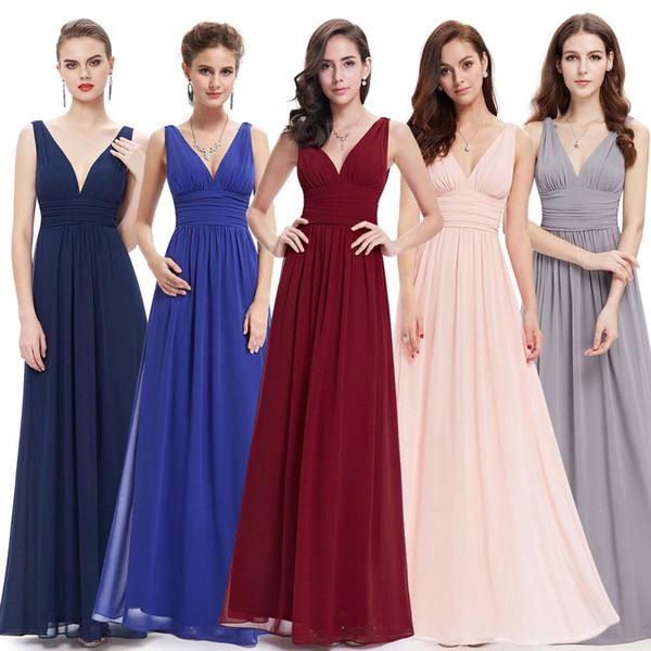 Yeni Yaz Seksi Derin V Yaka Uzun Beyaz Şifon Gelinlik Modelleri Kırmızı Halter Omuzlar Saf El Kavrama Fold Balo Parti Elbiseler