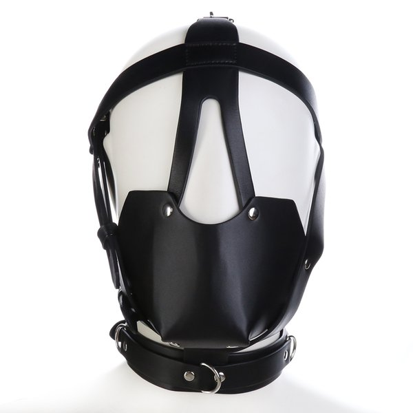 Sexy Bondage Fetish Full Cover Sex Toy For Woman Male Couple Leather Hood BDSM Erotic Toys Sexo Adult Games