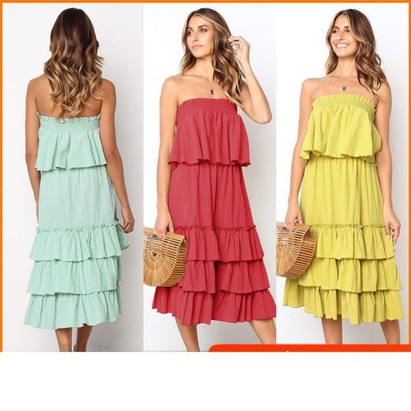 Mode Mädchen Kleid ärmellos weg von der Schulter Rüschen Sommer trägerlos einfarbig Mitte der Wade Kuchen Chiffon Strandkleid