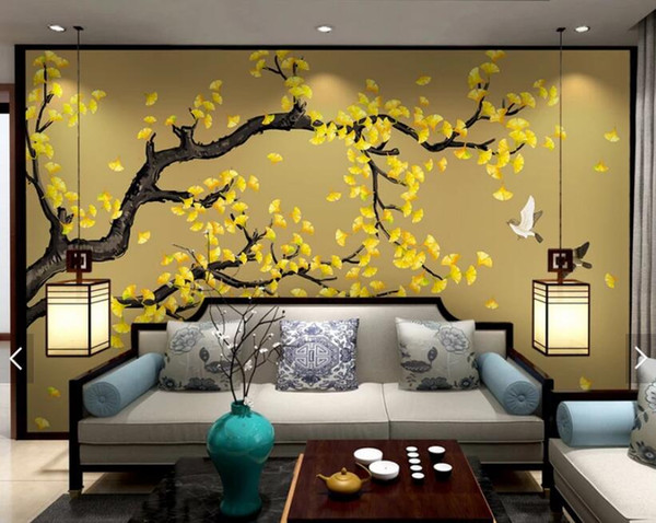 Customized eco-friendly wallpaper hand-painted classic ginkgo flower bird new Chinese backgroundpapel de parede 3d wall papers home decor
