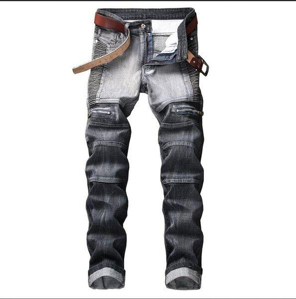 2019 designer men's stitch luxury jeans men creases zip jeans slim fit straight denim fat man pants jeans 29-42