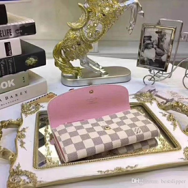 #3076 5A Quality Wallet Luxury Designer Plaid Women Wallet Button Long Emilie Wallets Exotic Leather Ladies Card Pouch Round Coin Purse