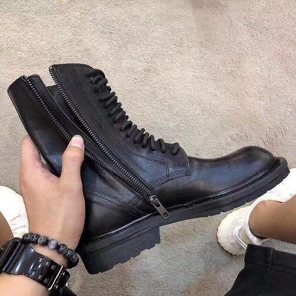 Siyah 60mm Dantel-up Deri Boots 19ss ann bayanlar Siyah Bilek yüksekliğindeki buffed deri botlar boyut Euro 34-40 Womens