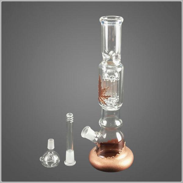 Glass bong 33cm hight beaker bong 5 tree arm honeycomb ooil rig hookah bongs percolator maple leaf pattern bong honeycomb oil rig glass pipe