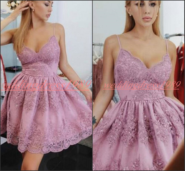 Fashion Lace Sequins Arabic Short Homecoming Dresses Straps Spaghetti Saudi Knee Length Short Prom Dress Cocktail Cocktail Party Club Wear