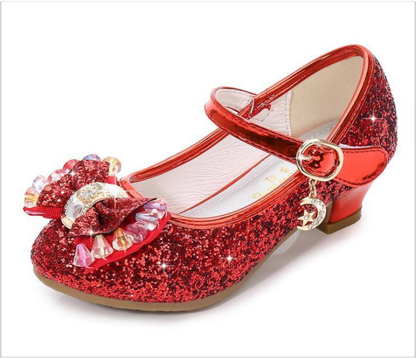 Princess Kids Leather Shoes For Girls Flower Casual Glitter Children High Heel Girls Shoes Butterfly Knot Blue Pink Silver Y19051303
