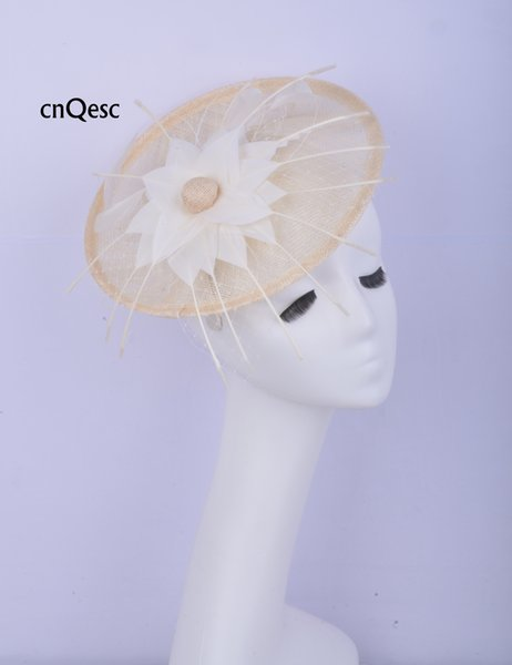 2019 Ivory sinamay fascinator Hair accessory Headpiece Kentucky Derby wedding races bridal shower mother of the bride w/feather flower