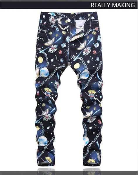 Nouveau Design Original Top Qualité Dimensionnelle coupe Hommes À La Mode Imprimé Jeans Hip Hop Rock DS DJ Slim Jeans Personnalité Moto Jean