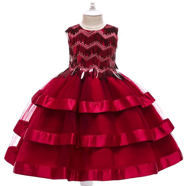 Elegante Perlen Pailletten Mädchen Festzug Kleider 2019 Kristall Mädchen Kommunion Kleid Ballkleid Kinder Formal Wear Blumenmädchenkleider für Hochzeit