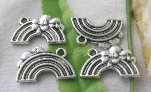 100 adet Tibet Gümüş Gökkuşağı Köprüsü Charms Kolye Avrupa Moda Erkekler Kadınlar Için Takı Kolye Bilezik Küpe Aksesuarları