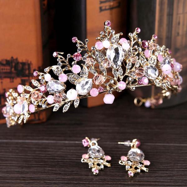 Perle Brautkronen handgemachte Tiara Braut Stirnband Kristall Hochzeit Diadem Queen Crown Hochzeit Haarschmuck