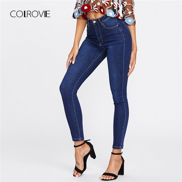 Colrovie Blue Dark Wash Skinny Denim Women Spring High Waist Button Fly Casual Jeans Female Solid Long Pencil Pants Q190508