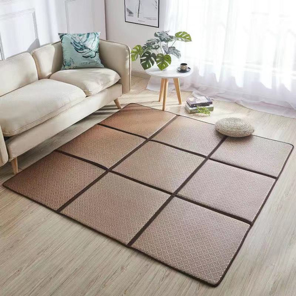 Summer Infant Shining Folding Rattan Carpets for Living Room Bedroom Area Rugs Home Tatami Rug 6MM Thick Baby Play Non-slip Mats