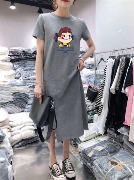 Designer femmes robe à manches courtes robe femme été nouveau décontracté lâche longue section sur le genou graisse soeur t-shirt jupe
