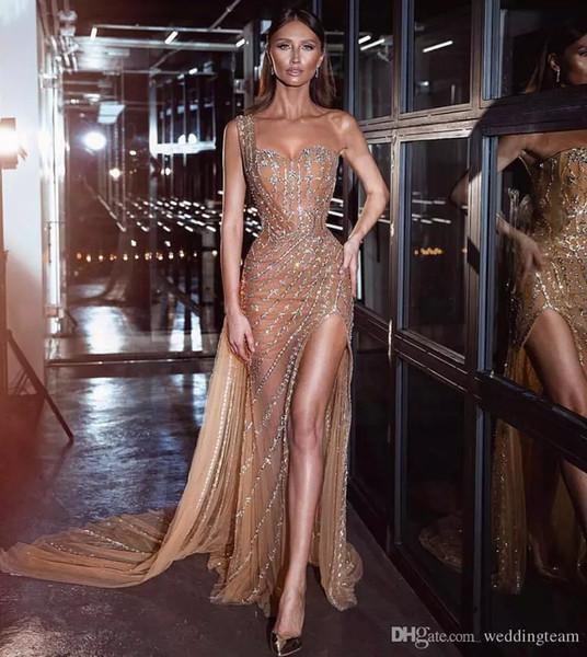Gold Perlen Mermaid Side Split Abendkleider Pailletten Eine Schulter Formale Partykleid Sweep Zug Tüll Strass Prom Kleider