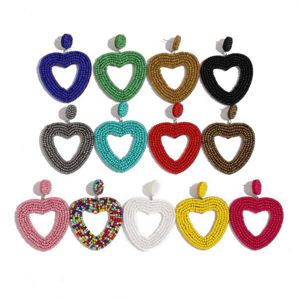 best selling Bohemian Bead Tassel Drop Earrings for Women Vintage Wedding Trendy Fringed Girls Party Gifts Colorful Heart Statement Earrings
