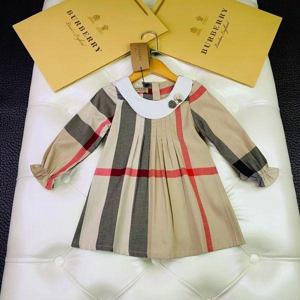 Babykleider Fliege Idyllisches Spitzenkleid Mädchenkleid 2019 Sommer Kariertes Britisches Windprinzessin Rockkleid aus reiner Baumwolle 0714