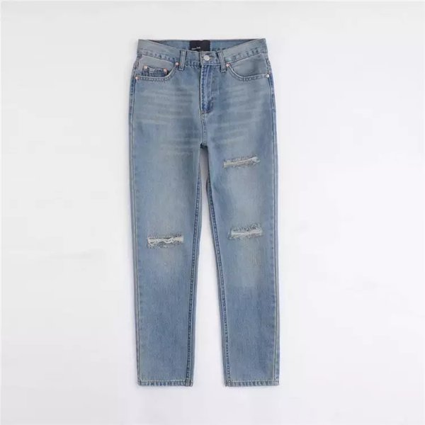 Classic regular light blue water washing damaged lady skinny jeans women denim jean pants Street Mid Waist Denim Skinny Stretched Jeans