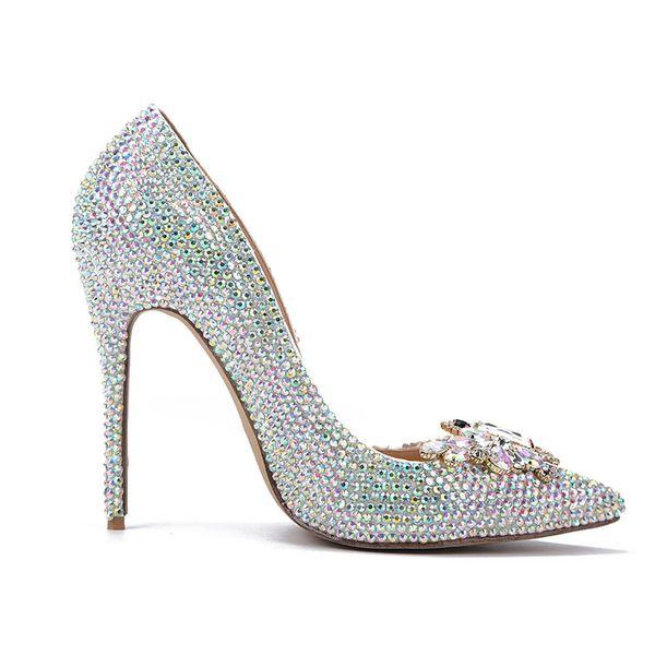 Zapatos de dama de honor Bling bling Crystal AB Rhinestone zapatos de boda Mariposa punta estrecha nupcial Banquete bombas Zapatos de novia