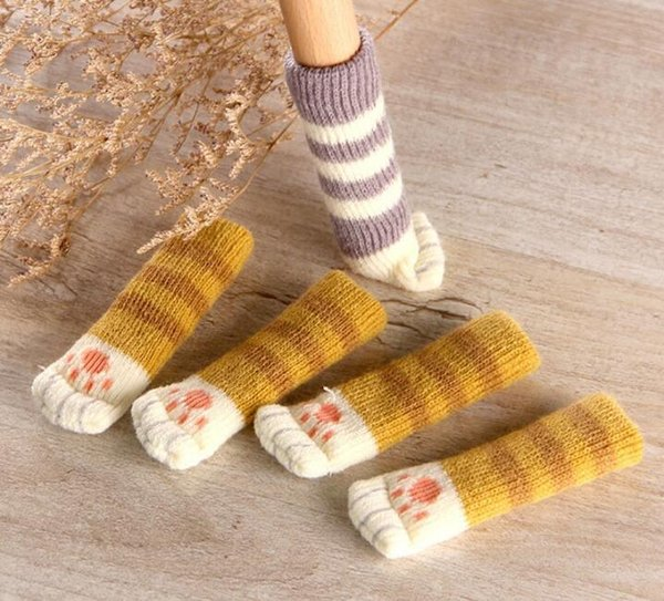 Set Cute Cat Paw Table Chair Foot Leg Knit Cover Protector Socks Sleeve Protector Good Scalability Non-Slip Wear