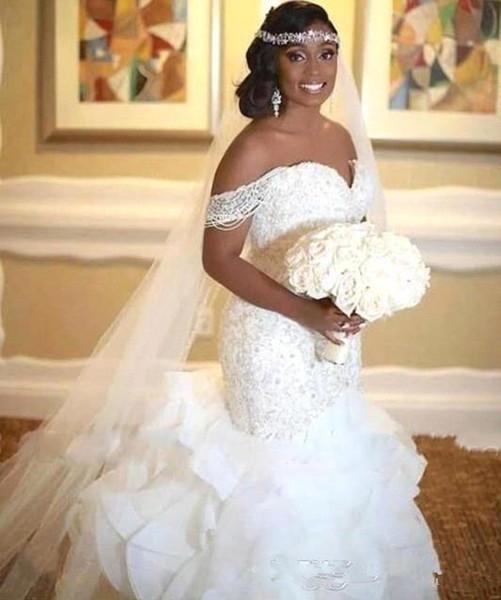 2019 Elegant Plus Size African Mermaid Wedding Dresses Ruffles Off The Shoulder Pearls Lace up Back Bridal Gowns Vestidos De Novia