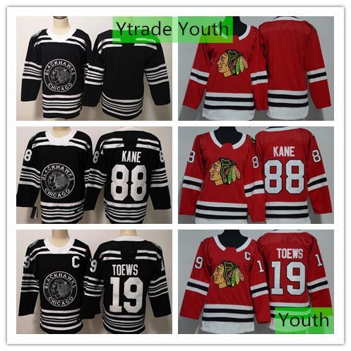 Chicago Blackhawks Jersey 2019 Winter Classic Youth Jonathan Toews 88 Patrick Kane Hockey Kids Blank Red Black Jerseys Best Quality