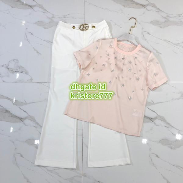Frauen Blazer Brief Zweiteiler Hosen Rundhalsausschnitt Tops T-Shirt Tee + Brief Perle Knopf Weites Bein Hosen Hosen Mädchen Casual Runway Hemd Anzug 2019