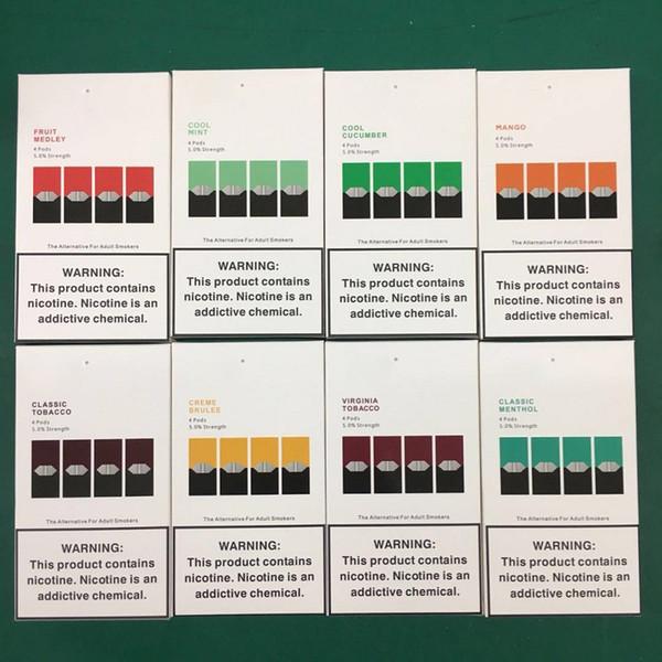 Neues Paket Vape Pen-kompatible Hülsen Mango Cool Mint-Gerätehülsen Patronen für E-Zigaretten-Vaporizer Portable Kit nachfüllbare Hülsenpatrone