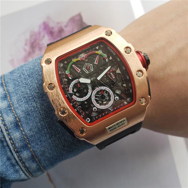 Mens al por mayor de moda de lujo Wacth acero inoxidable Dial Todo el trabajo de diseño del cronógrafo movimiento de cuarzo Relojes del reloj del deporte militar
