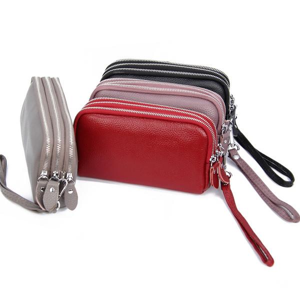 Lady's handbag Multi-Card Bag Credit card sets coin purse Leather clip top cowhide Three-storey lady's handbag Long Wallet